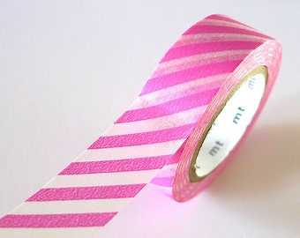 Thick Stripe PINK Washi Tape 15mm Japanese MT Masking Tape - PrettyTape