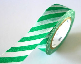 Thick Stripe GREEN Washi Tape 15mm Japanese MT Masking Tape - PrettyTape