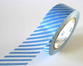 Thin BLUE STRIPE Washi Tape 15mm Japanese MT Masking Tape - PrettyTape