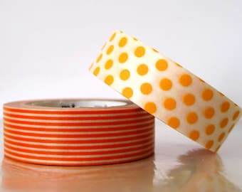 Dots Stripe ORANGE Washi Tape 15mm Japanese MT Masking Tape - PrettyTape