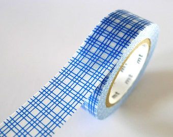 Blue Square GRID Washi Tape 15mm Japanese MT Masking Tape - PrettyTape