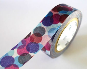 NAVY BURGUNDY Spots Japanese Washi Tape MT Colorful Dots - Pretty Tape