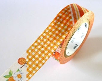 Vintage Style mt ex ORANGE Stripe Gingham Floral Washi Tape 15mm Japanese Masking Tape - PrettyTape