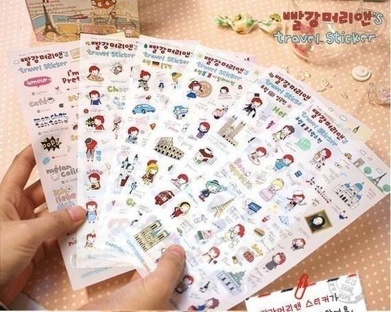 Kawaii Deco Sticker - 7 Sheets Cute Transparent Anne's Travel EUROPE Stickers