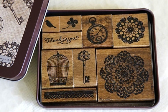 Bird Cage Rubber Stamp Thank You Doily Lace Key Wooden Rubber Stamps - Set of 9