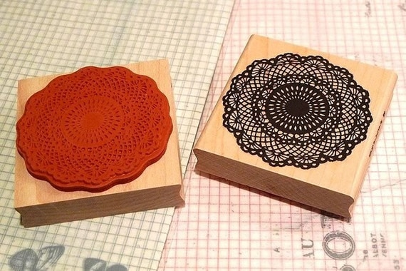 Japanese Big Floral Lace Doily Pattern Wooden Rubber Stamp