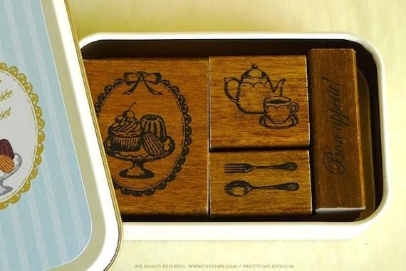 Cute TEATIME Cupcake Tea Fork Spoon Japanese Rubber Stamp Set of 4