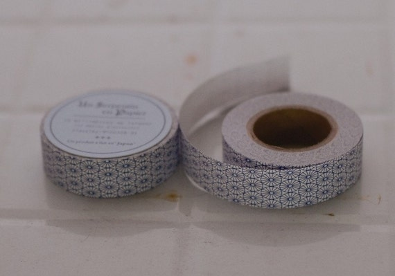 Japanese Security Envelope Pattern Water Activated Paper Packet Tape BLUE 15mm