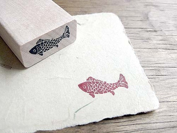 koi fish rubber stamp fish stamp craft rubber stamps small