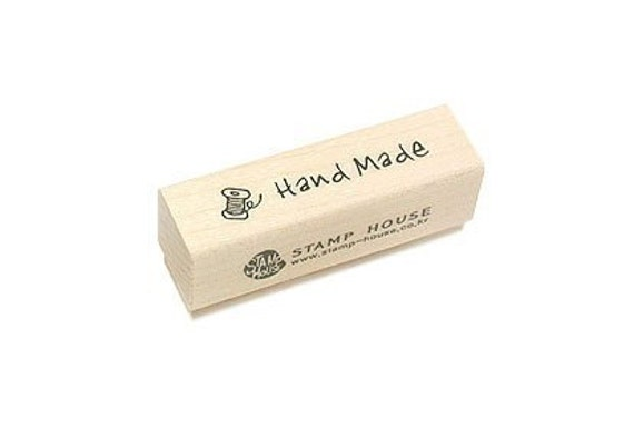Label Handmade Stamp with Spool of Thread Wooden Rubber Stamp