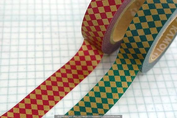 Japanese Masking Tape - Diamond Red Green Gold Pattern MT Washi Tape