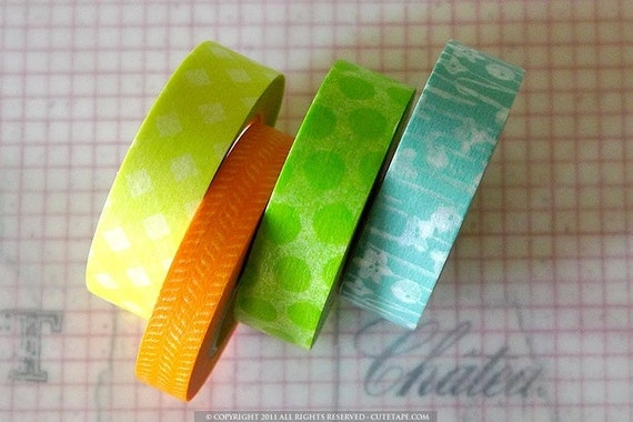 Washi Tape with Gingham, Wiggly Dots, and Flowers Japanese Tape 15mm - Set of 4 - V1
