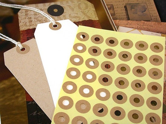 Hang Tag Donut Hole Kraft Ring Label Stickers Reinforcements 5 Sheet (240 total)