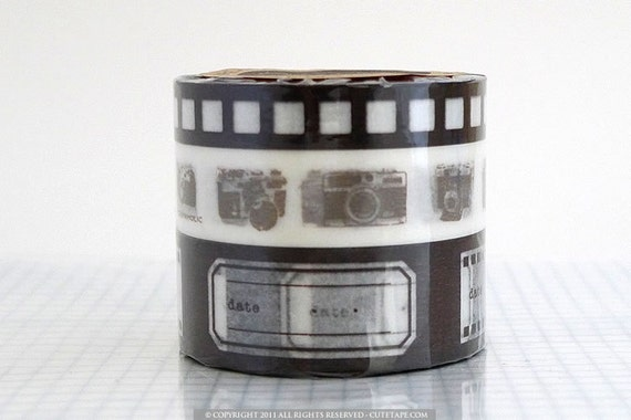 Japanese Washi Paper Tape - Camera Film BROWN - Set of 3 Great for Card Making Embellishments