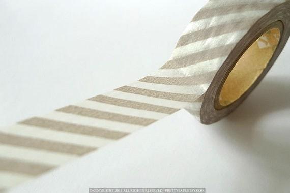 Japanese TAN GREY Stripe Washi Tape 15mm - MT Gray Wedding Votives Decor