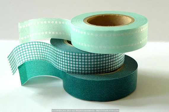 Teal Washi Tape Japanese MINT TEAL Set of 3 perfect Teal Wedding Decoration 147ft total
