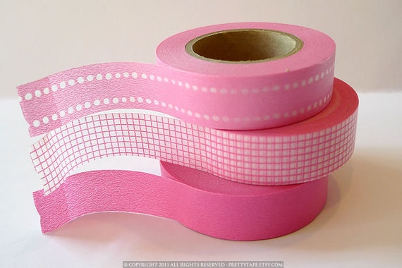 Japanese PINK Washi Tape- Pink Dot Grid Solid - Set of 3 from PrettyTape 147ft total