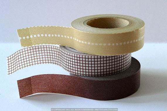 Cocoa BROWN Tape - Dot Grid Solid Japanese Masking Tape Set of 3 - PrettyTape