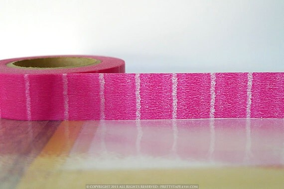 Pink Japanese Washi Tape- Vertical Pink Stripe 15mm Single from Pretty Tape