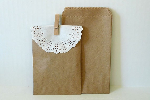 Kraft Paper Bags Brown Paper Bags Wedding Favor Bags - 50 BLANK 3 1/4 x 5 1/4 in Birthday