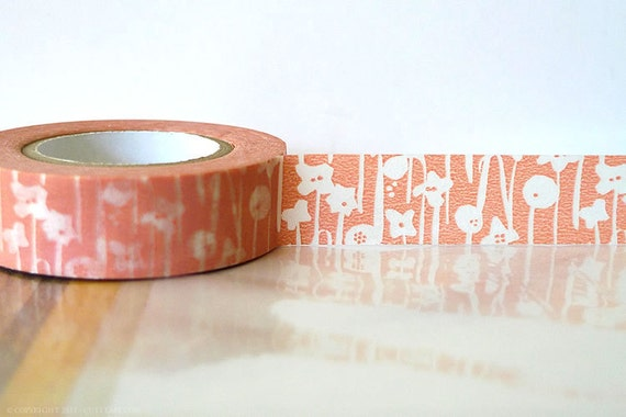 Pretty Japanese Washi Tape - Small Flowers Peach Pink Masking Tape 15mm Gift Package, Scrapbooking