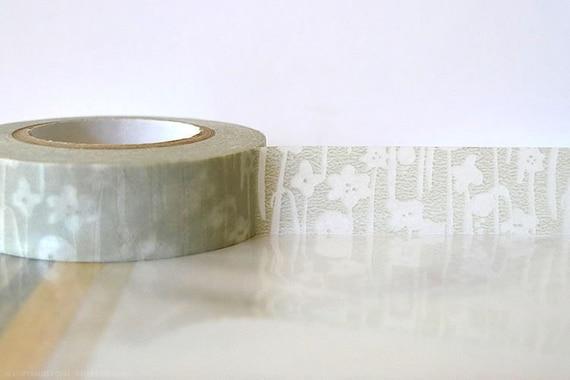 Japanese Washi Tape TAN Grey Masking Tape Small Flowers 15mm Gift Package, Cardmaking