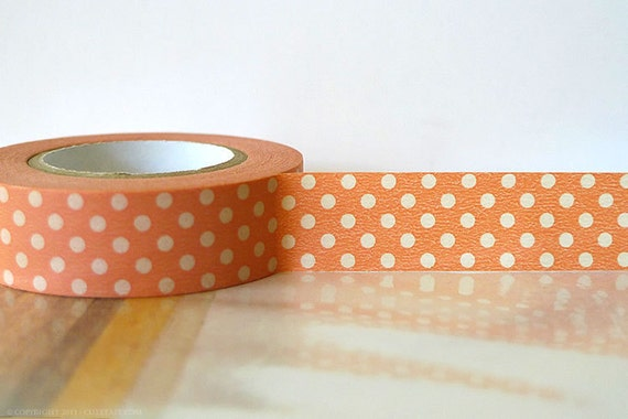 Japanese Washi Tape PEACH PINK  Polka Dots 15mm Gift Packaging
