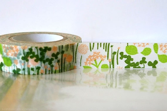 Japanese Washi Tape - Little Garden GREEN and PEACH 15mm - Wedding Birthday party floral washi tape flowers Packaging