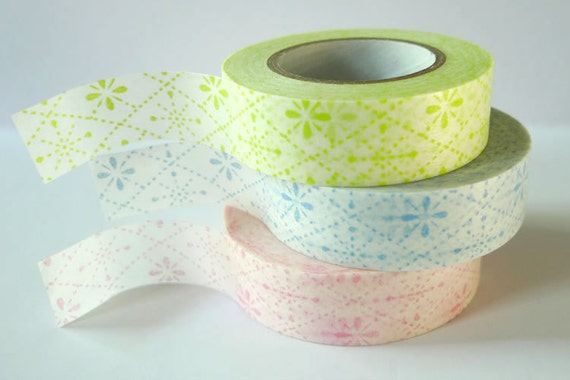 Flower Stitch Pink Blue Green Japanese Washi Tape Set of 3 packaging and gift wrap