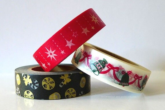 Christmas Washi Tape RED Star Bells Candy Cane - christmas gift wrap SET of 3