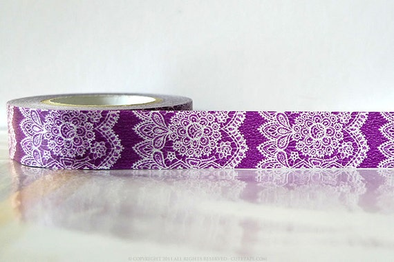 Vertical Purple lace Washi Tape Lace Trim Paper Tape Japanese 15mm Single 49ft