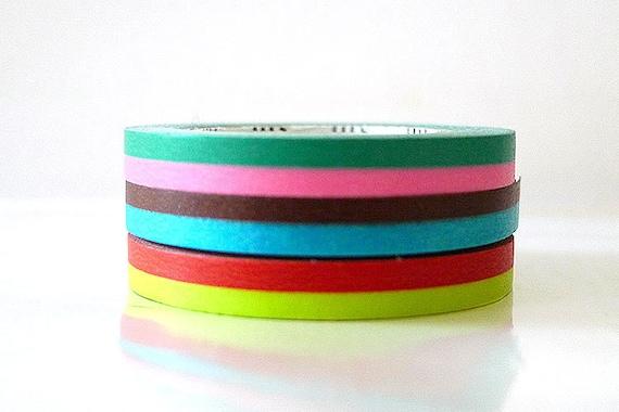 Thin Washi Tape Set VIVID Colors Two Tone MT Masking Tape - set of 3 Duo Tone