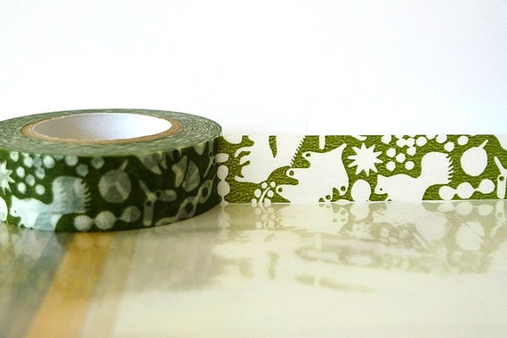 Japanese Washi Tape - GREEN Squirrel, Acorn, Leaves Masking Tape 15mm for Cardmaking