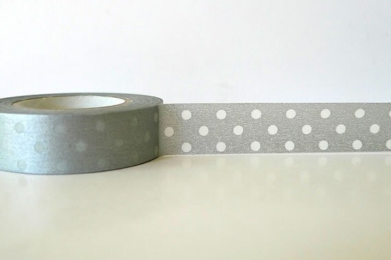 Silver DOTS Washi Tape Silver Polka Dots Japanese