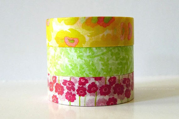 Japanese Washi Tape Yellow POPPY, Green Leaves, Pink Poppy Flowers masking tapes - Set of 3 PrettyTape