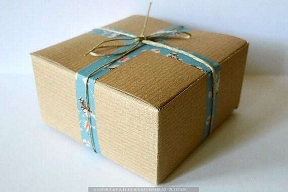 Kraft Favor Box 4x4x2 BLANKS paper gift boxes - Set of 20