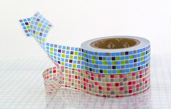 Colorful GRID Japanese Washi Tape - Blue and Red Masking Tapes 15mm Set of 2 MT