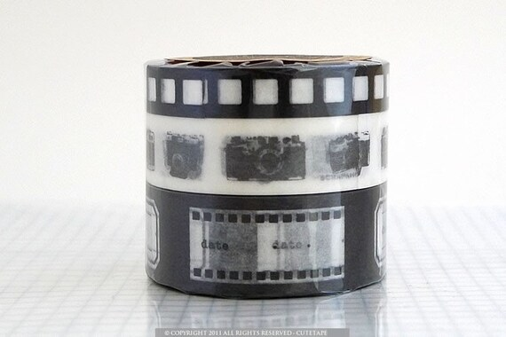 Film Camera Designs METALLIC BLACK Washi Paper Tape - Set of 3 NEW