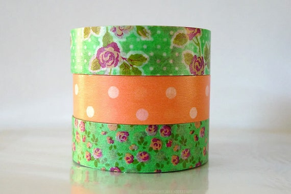 Japanese Washi Tape JADE Green - Pink Rose ORANGE Polka Dots masking tapes - Set of 3 PrettyTape