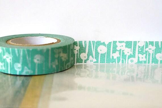 Pretty Japanese Washi Tape - Small Flowers Aqua BLUE Masking Tape 15mm Gift Package, Wedding, Scrapbooking