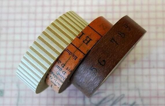 Japanese Washi Tape - Brown Stripe Oldbook Numbers Pattern Masking Tape-  Set of 3 ReMIX