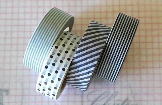 Japanese Washi Tape Grey Black Dot Stripe Pattern 15mm - Set of 4 mt masking tapes