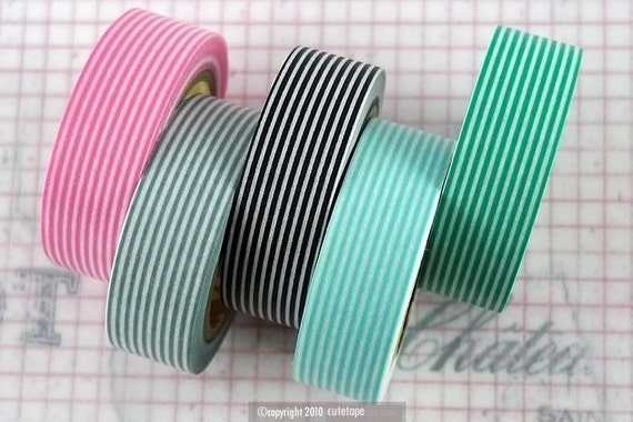 Japanese Washi Tape - All Stripes Horizontal Lines Set of 5 Pink, Grey, Black, Blue, Turquoise