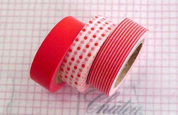 Japanese Paper Washi Tape - Deep Orange SOLID polka dot stripe Pattern -PrettyTape