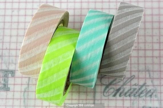 Pretty Washi Tape - Sorbet Color Diagonal Stripe SET of 4 mt Japanese Tape