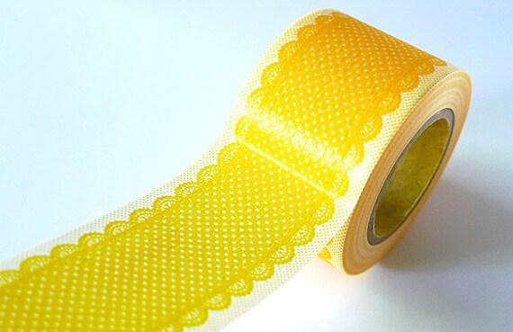 Lace Deco Tape Yellow Orange Dots Japanese Washi Tape -  38mm
