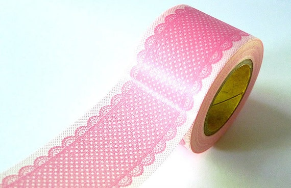 Decorative Tape Pretty Wide LACE DOTS Pattern Washi Tape - Pale Rose PINK 38mm - New