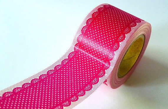 DOTS LACE Tape - PINK Red Lace- 38mm Wide Washi Tape - New from PrettyTape