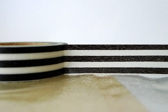 Japanese Black and White Washi Tape - Thick Horizontal Black Stripe Pattern mt 15mm SINGLE