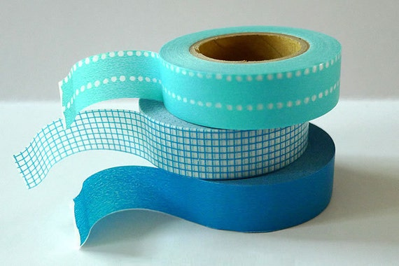 Masking Tape BLUE Japanese Washi Tapes  - Dot Grid Solid Set of 3 for gift wrap and decorations